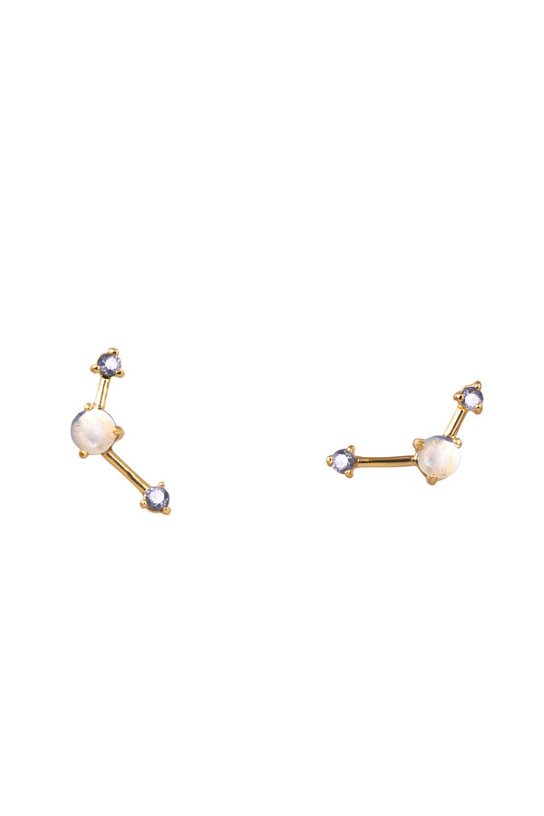 Wwake Three step point earrings in moonstone and sapphire