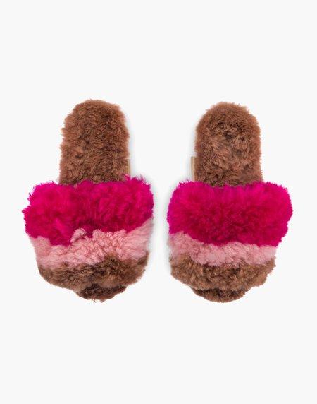 Ariana Bohling Three Stripe Alpaca Slipper - Pink