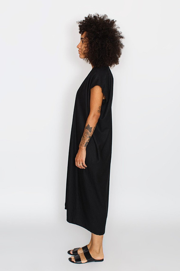 Miranda Bennett Everyday Dress, Oversized, Black Silk Noil