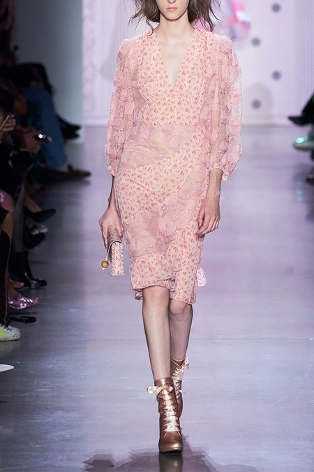 Anna Sui Embroidered Tulle Dress - Blush Multi