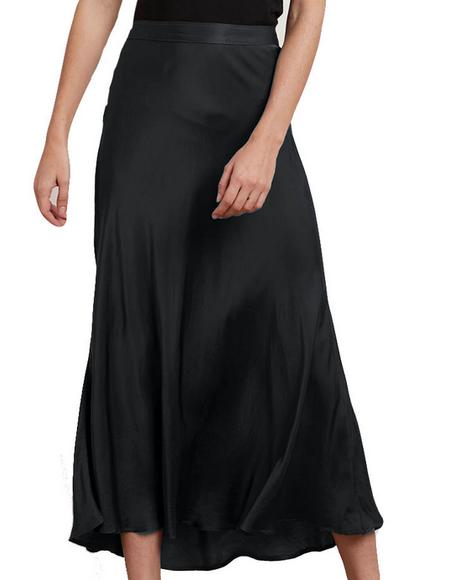 Velvet Shelby Satin Viscose Midi Skirt - Black