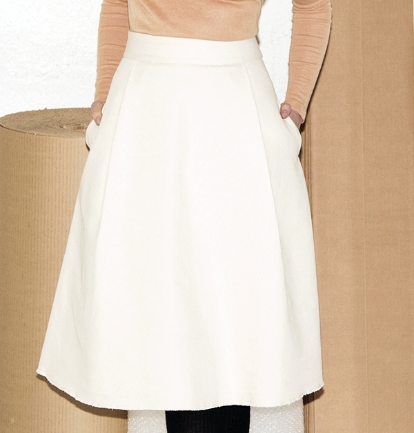 Sunja Cotton Canvas Pleat Skirt