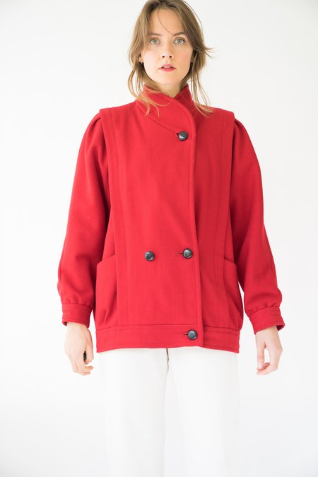 Vintage Wool Coat - Red