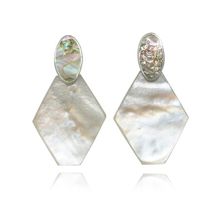 Octave Jewelry PENDULUM Earring in Mother of Pearl and Abalone