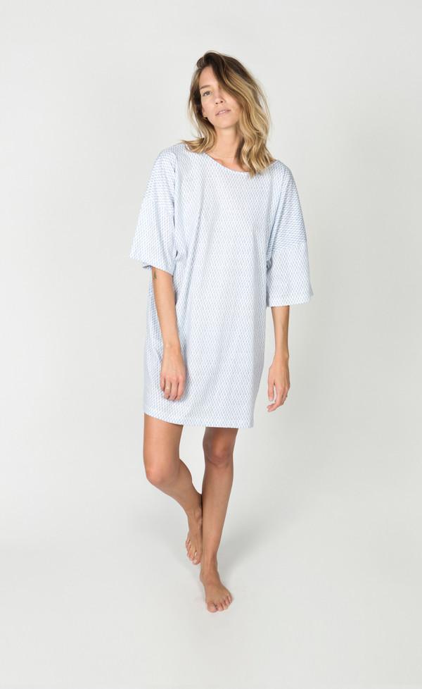 Ilana Kohn Jersey Tee Dress, Blue Checkers