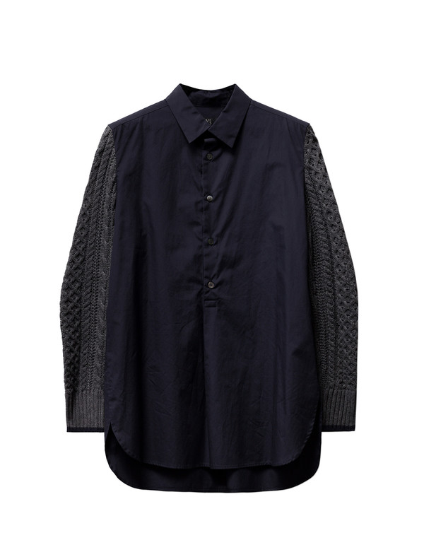 Ys by Yohji Yamamoto Womens Knit Sleeve Shirt Navy/Grey