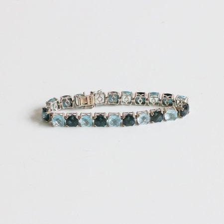 [pre-loved] Closed Topaz & Sterling Tennis Bracelet - Teal