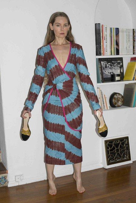 100% SILK Fetu Dress - Aqua/Burgundy