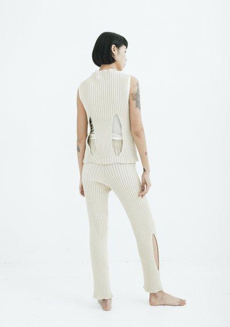 Baserange CIRRI COTTON PANT RIB - Raw White