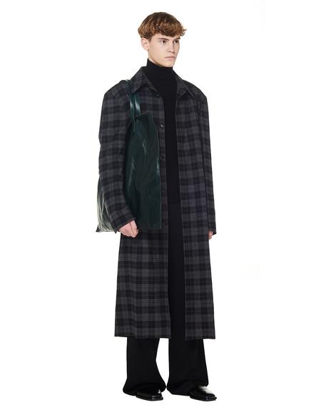 Balenciaga Checked Grey Cotton Coat