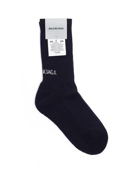 Balenciaga Cotton Logo Socks - Black