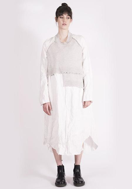 Serie Numerica Long Sleeve Wool and Cotton Maxi Dress - Grey/White