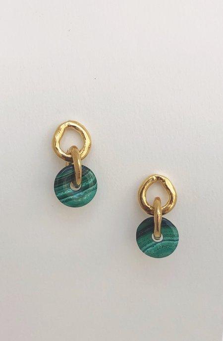 Mercurial NYC Malachite Chain Link Earrings