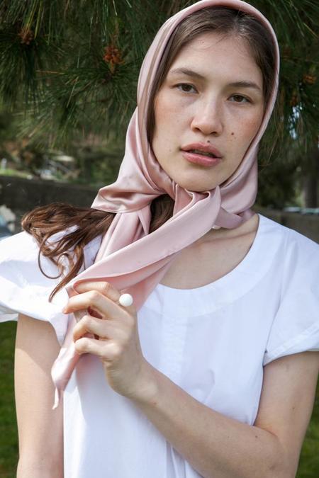 Lotte99 Large Square Silk Scarf - Blush
