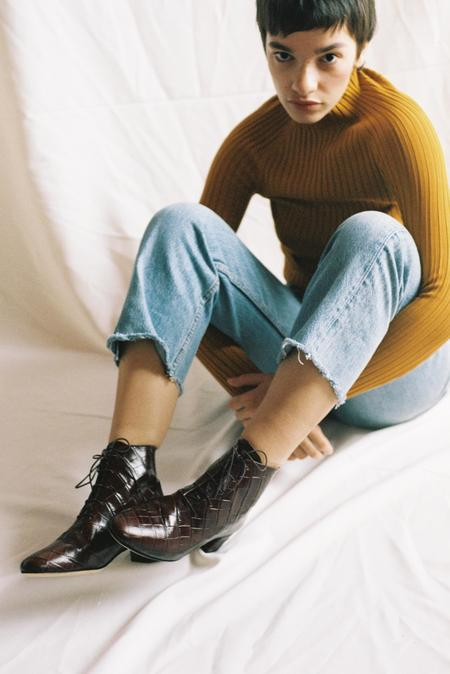 Auprès Félicie boot - croco brown
