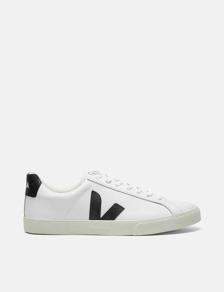 Veja Esplar Low Logo Leather Trainers - Extra White/Black