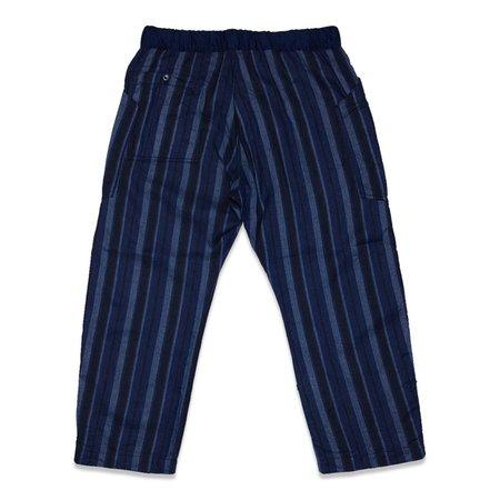 TSS STRIPE LINEN COTTON LOOSE FIT CROPPED PANTS - NAVY