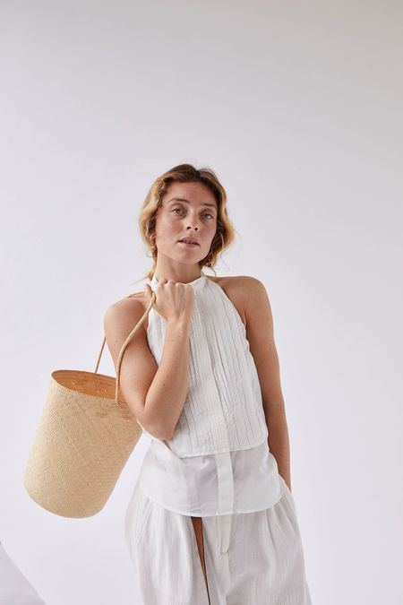 Worn The Bucket Tote - Natural