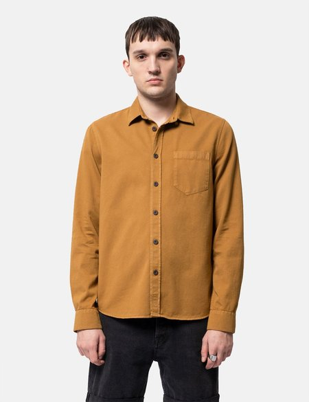 Nudie Henry Pigment Dyed Shirt - Camel