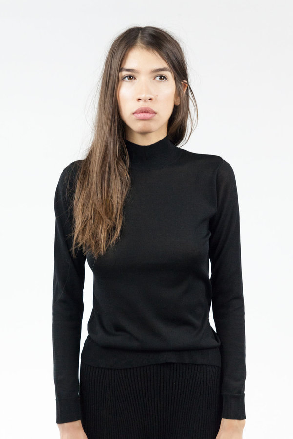 Objects without Meaning Mock Neck L/S Top - Black