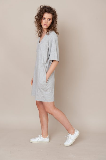 beaumont organic Sasha Organic Cotton Dress - Light Grey Marl