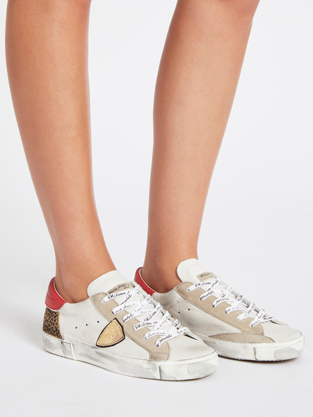 Philippe Model Prsx Veau Leopard Sneaker - White