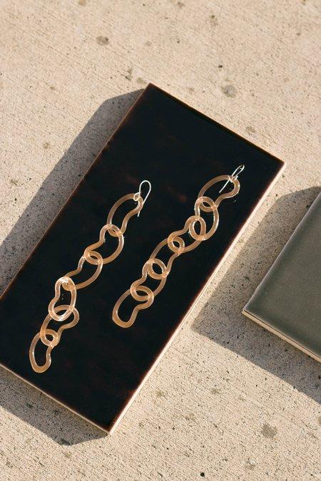 Jane D'Arensbourg Long Bean Chain Glass Earrings - Peach