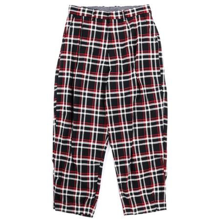 N.Hoolywood Random Tacked Wide Tapered Pants - BLACK CHECK