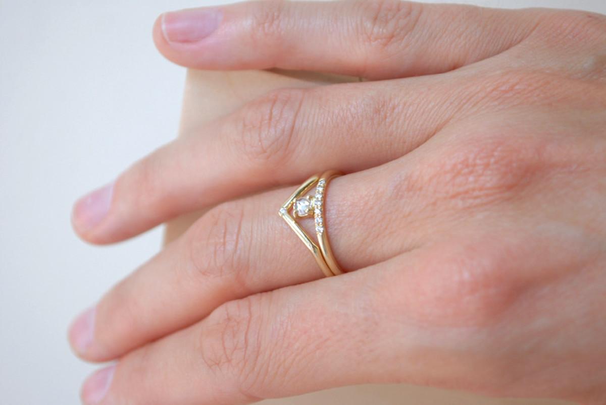 Mociun Stacked white diamond ring with pavé white diamonds | Garmentory
