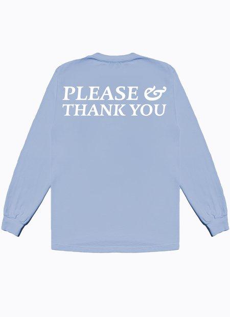Noble Gentlemen Trading Co. Please & Thank You Long Sleeve Tee - Sky Blue