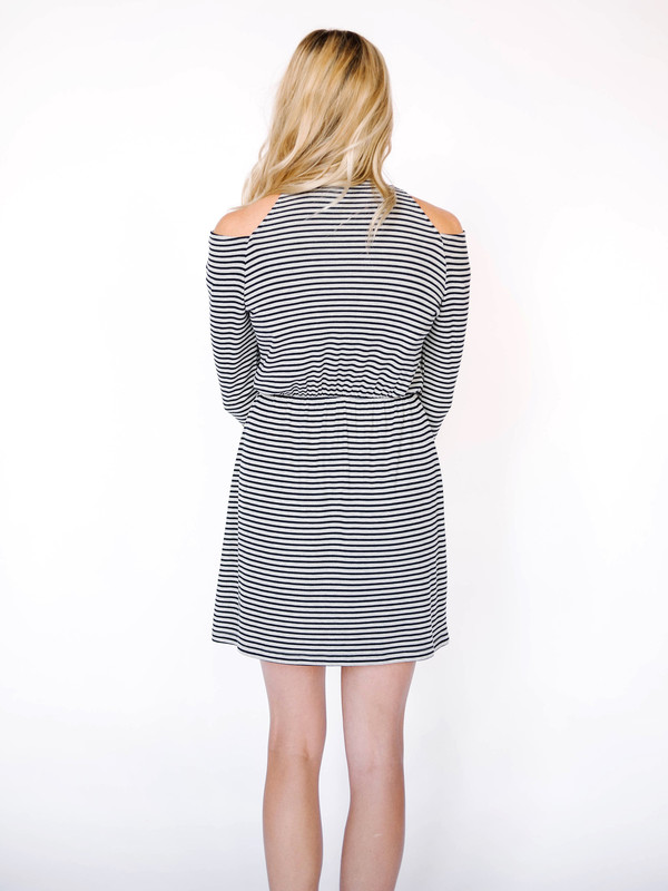 Everly Cold Shoulder Stripe Dress