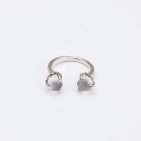 Aesa Single Wave Moonstone Ring - sterling silver