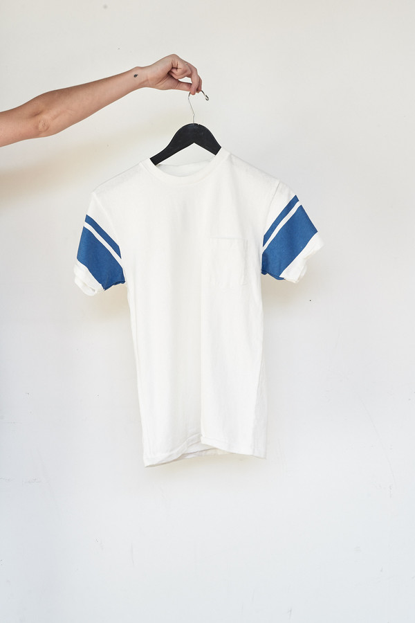 Velva Sheen Cotton S/S College Arm Border Tee