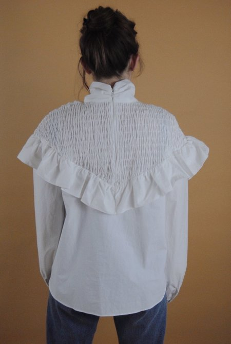 Deventi Frill Smocked Blouse w/ Mock Neck