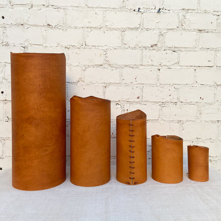 Made Solid Leather Wrapped Vase - Indian Tan