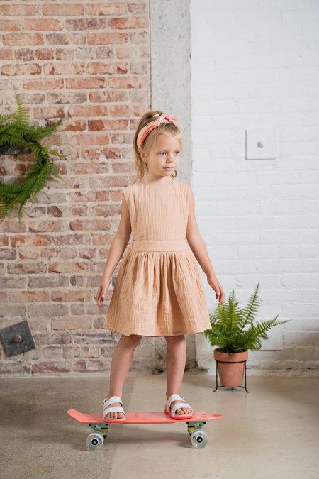 kids Pinafore Gauze Dress - peach
