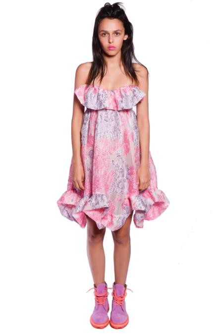 Anna Sui Metallic Floral Jacquard Dress - Lilac Multi
