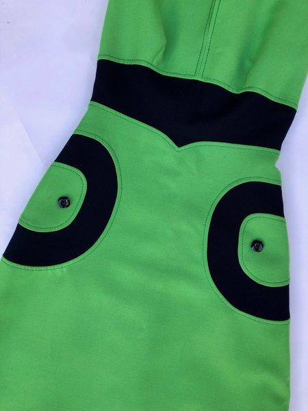 VINTAGE MOD 60'S DRESS - GREEN/NAVY