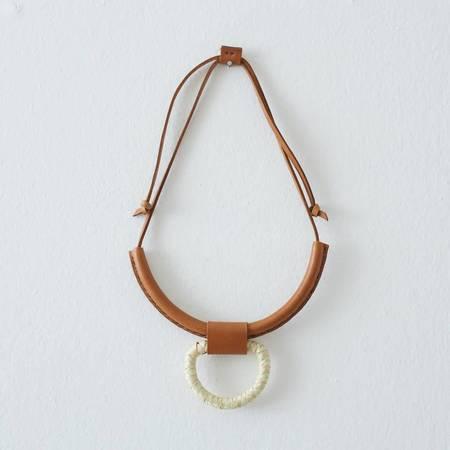 Crescioni Union Necklace - Palm/Saddle Brown