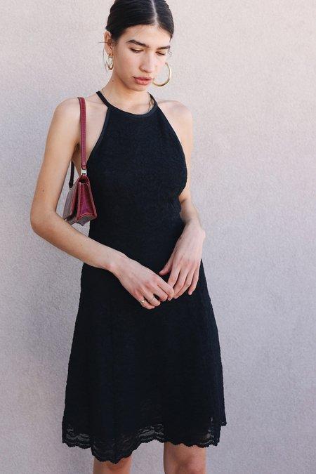 Vintage Lace Halter Dress - Black