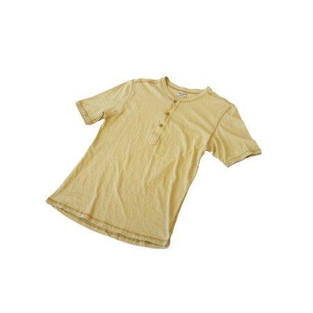 Homespun Knitwear Coalminer Recycled Cotton Jersey Short Sleeve Henley - Dune