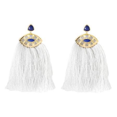 Margaret Elizabeth Zelda Moonstone and Lapis Earrings
