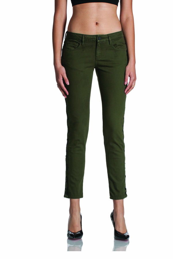 Etienne Marcel Military Skinny Jean with Lace-up Detail