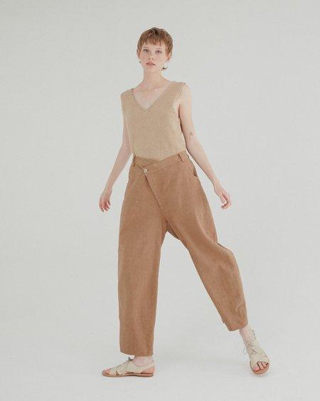Mónica Cordera Ramie Crossed Trousers - Ivory