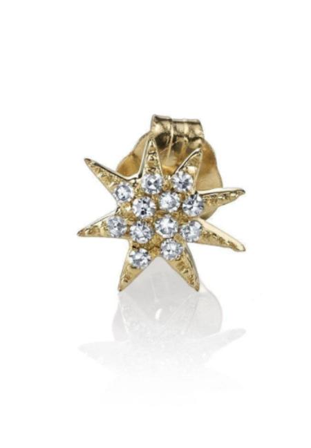 Gabriela Artigas Single Star Pave Diamond Stud SINGLE - 14k gold