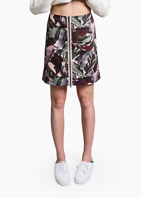 Svilu - Palm Print Zipper A-Line Skirt