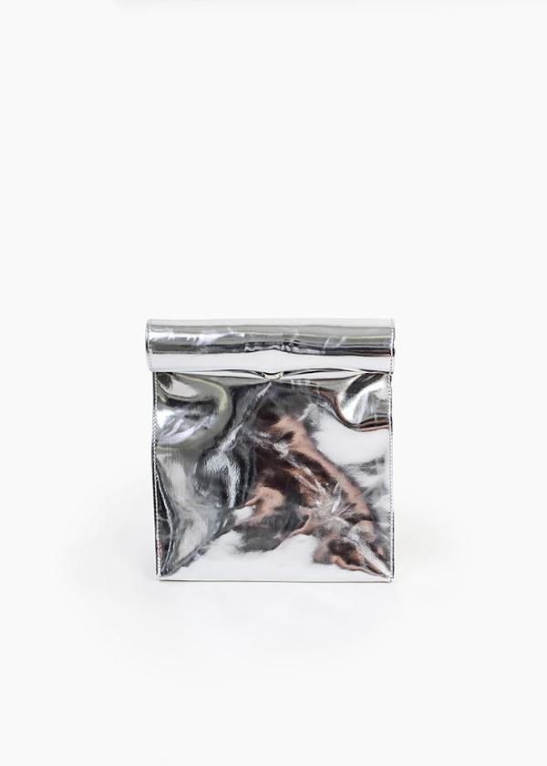S M K - Silver Foldover Bag