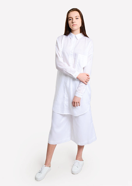 Suzanne Rae Wide Leg Cropped Pants - WHITE