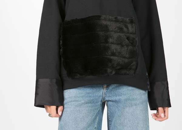 Harvey Faircloth Hoodie with Faux Fur Pocket