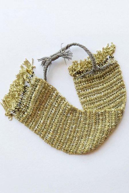 Marie Laure Chamorel Large Sterling Silver Bracelet - 24K Golded Grey